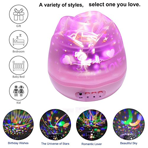 Projection Rose Bud Lamp, Dawn Night Light/Atmosphere Lamp/Ambient Light, Rotation 3 Replaceable Films of Different Theme for Happy Birthday/Lovers/Galaxy, -