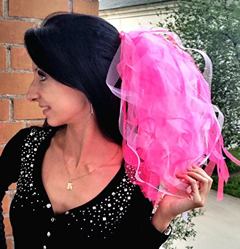 Bachelorette party Veil hot pink and white, middle length, lush and curly. Bride veil, accessory, bachelorette veil, hens party veil by Julsera Boutique