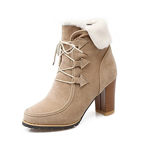 top Frosted Solid Boots Women's Allhqfashion High Beige Low Heels Lace up qxBTPw