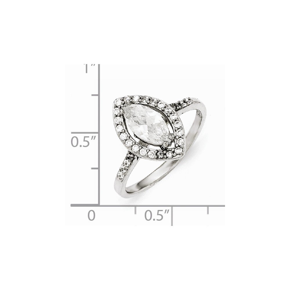 Cheryl M Sterling Silver CZ Marquise Ring Size 6