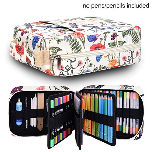 Pencil Case Holder Slot - Holds 202 Colored Pencils or 136 Gel Pens with Zipper Closure - Large Capacity Pen Organizer for Watercolor Pens or Markers - Perfect for Artist Dragonfly