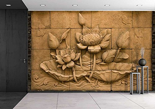 wall26 - a Stone Inscription of a Flower, Thai Style of Buddhism - Removable Wall Mural | Self-adhesive Large Wallpaper - 66x96 inches by wall26