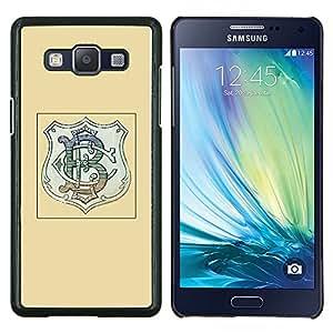 Iniciales Logo Company Marca Escudo Amarillo- Metal de aluminio y de plástico duro Caja del teléfono - Negro - Samsung Galaxy A5 / SM-A500