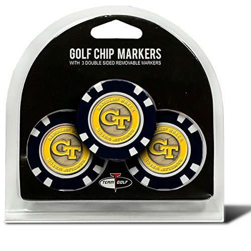 Set of 3 Georgia Tech Poker Chips with removable Golf Ball Markers (Chip Georgia)