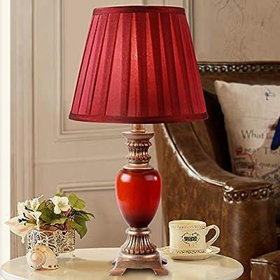 JUNMYEON Lámpara de Mesa clásica roja, lámpara de Escritorio de ...
