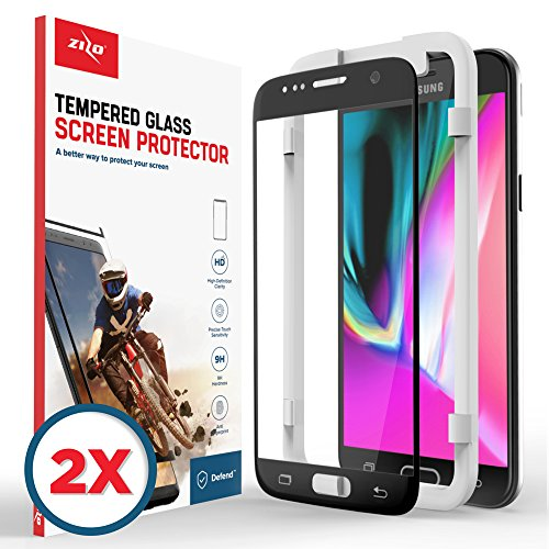 Zizo 2 Pack Glass Compatible with Samsung Galaxy S7 Tempered Glass Screen  Protector Anti Scratch 9H Hardness Black
