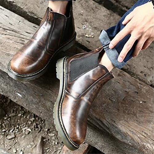 Militaires Bottes Casual Étanches Marron Slip on Noir Caoutchouc Cuir Antidérapant Chelsea Chaussures Martin Hommes En d8q5d