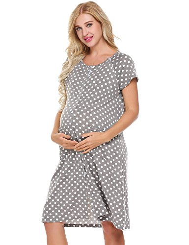 Cotton Nursing Nightgown (Legros Cotton Dot Nursing Dress For Pregnancy Woman Short Maternity Dress Clothing Breastfeeding Nursing Dress Summer (Gray, S))