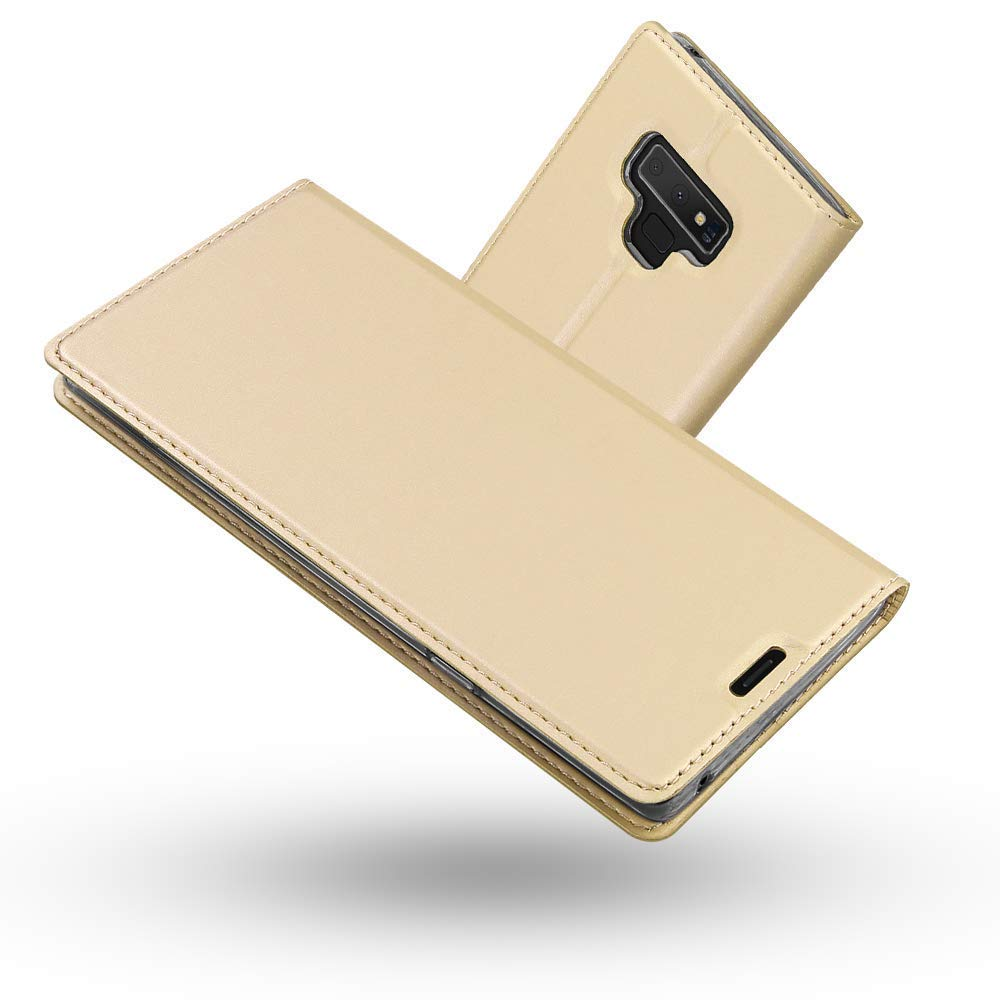 Radoo Coque Samsung Galaxy Note 9, Ultra Mince en Cuir PU Premium Housse à Rabat Portefeuille Coque Étui de Protection Bumper Folio à Clapet avec [Fente pour Carte] pour Samsung Galaxy Note 9 (Or) RAD-DD-PU-0821004