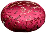 DreamTime Perfect Balance Zafu Cushion, Cranberry Brocade Dragonflies