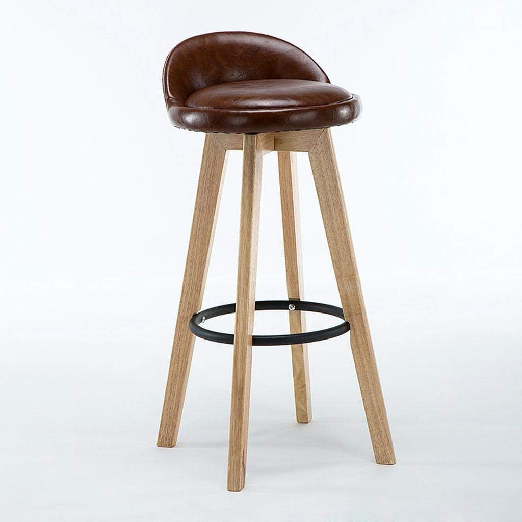 F Bar Stool, Retro Kitchen Stools with Solid Wood High Stools PU & Linen Leather Seat Kitchen Counter Bar Chair,360 Degrees Swivel Iron Foot Design, Breakfast Bar Chair,D