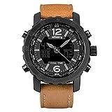 INFANTRY Men's Analog Digital Quartz Wrist Watch Dual time with Brown Genuine Leather Strap - black
