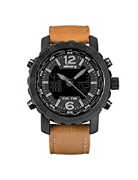 INFANTRY® Men's Analog Digital Quartz Wrist Watch Dual time with Brown Genuine Leather Strap - black