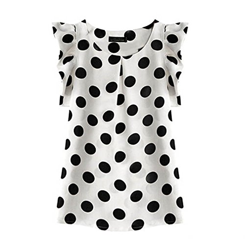 Weixinbuy Women's Chiffon Black Dots Print Tops White, X-Large from Weixinbuy