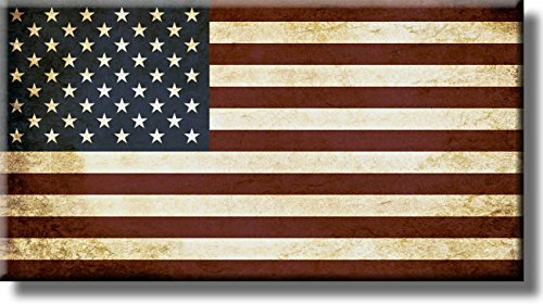 (Vintage American Flag Picture on Stretched Canvas, Wall Art Décor, Ready to)