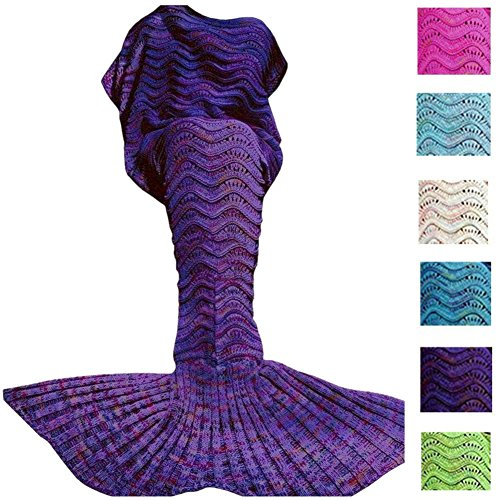 Fu Store Purple Mermaid Tail Blanket For Kids Teens Adult Handmade Wave Mermaid Blankets Crochet Knitting Blanket Seasons Warm Soft Sleeping Bag Best Gift for Birthday Christmas (Mermaid For Kids)