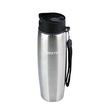 BESTEK® Termo de acero inoxidable y boca grande para guardar agua,café,té,leche de frio y calor (470ML Plata)