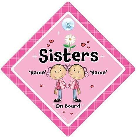 Hermanas A Bordo Señal Coche, Personalizado hermanas a bordo ...