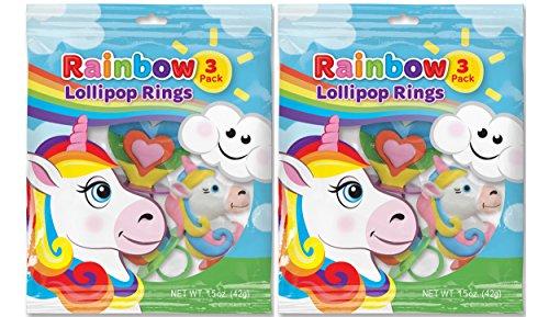 Rainbow Unicorn Shaped Ring Pop Lollipops, 1.5 oz, 2 Packs o
