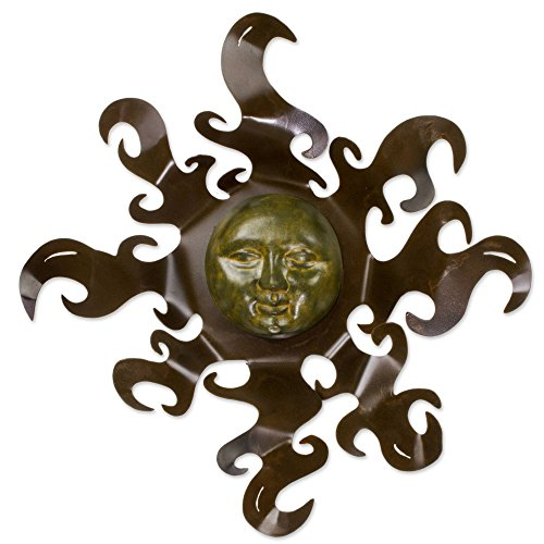 NOVICA Artisan Crafted Painted Steel Sun Large Iron and Ceramic Wall Art, Brown and Yellow 'Sumptuous Sun'