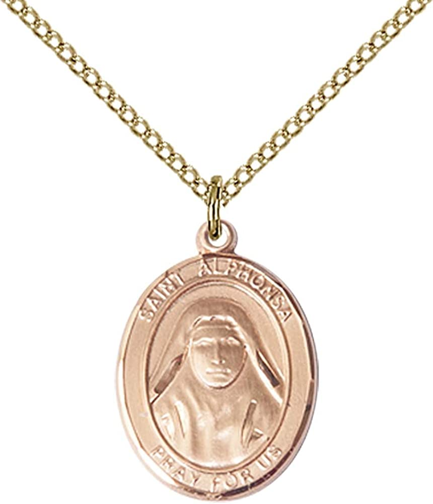 Alphonsa Pendant with 18 Gold Filled Lite Curb Chain F A Dumont 14kt Gold Filled St Patron Saint of Against Illness