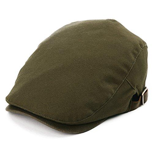 Siggi Mens Flat DuckBill Hat English Irish Newsboy Driving Cap 100% Cotton Stylish ArmyGreen