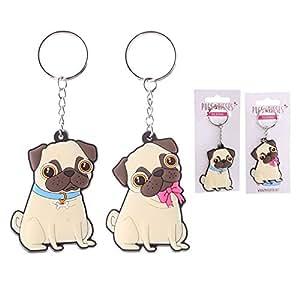 Amazon.com: PVC Pugs Y Besos Llavero: Office Products