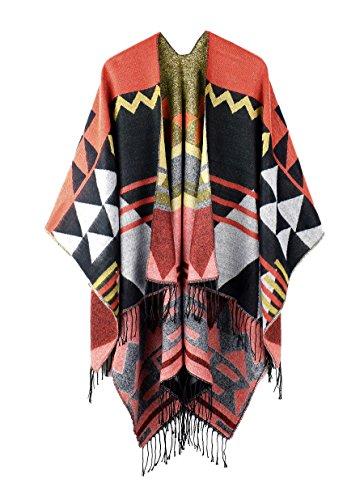 Oversized Tassel Cashmere Pashmina Shawl Knitted Poncho Sweater Orange