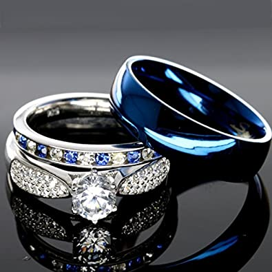 his and hers 925 sterling silver blue saphire stainless steel wedding rings set blue sp24blmsbl - Blue Sapphire Wedding Ring Sets