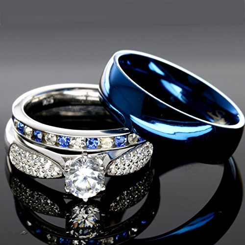 His and Hers 925 Sterling Silver Blue Sapphire Stainless Steel Wedding Rings Set Blue #SP24BLMSBL