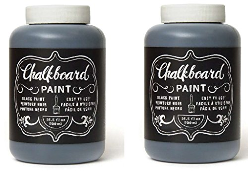 (Chalkboard Paint - Black, Erasable Non-Toxic and Oderless Wall Decor 2-Jars (16.5-Ounce ea.) 33 oz)