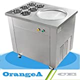 OrangeA Ice Maker 13.7' Pan diameter Ice Cream Maker for Yogurt with 1 Pan 6 Buckets Commercial Ice Cream Roll Maker Apply to Bar Dessert Shop(Single Pan)