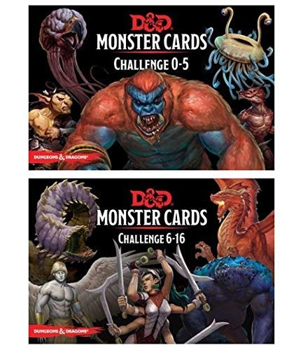 D&D: Monster Cards 5e Bundle Including Monster Cards - Challenge 0-5 Deck and Challenge 6- 16 Deck