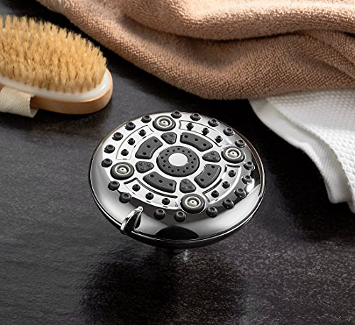 ModernAqua 6-function 5'' Shower Head - 2.5 GPM High Flow - Luxury Chrome Rain Showerhead with Anti-Clogging Silicone Jets - Removable Water Restrictor - Wall Mount - Self Cleaning nozzle by Modern Aqua (Image #6)