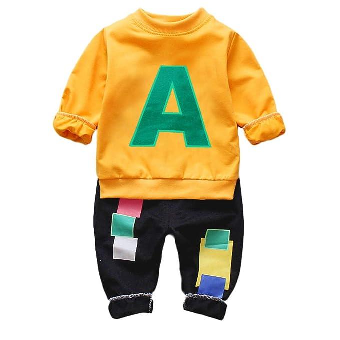 Ropa Bebe otoño-Invierno, ZARLLE Recién Nacido Niño Casual Tarjeta de Visita Camisas de Manga Larga Y Negro Pantalones, 12 Meses-4 años Bebé Ropa: ...