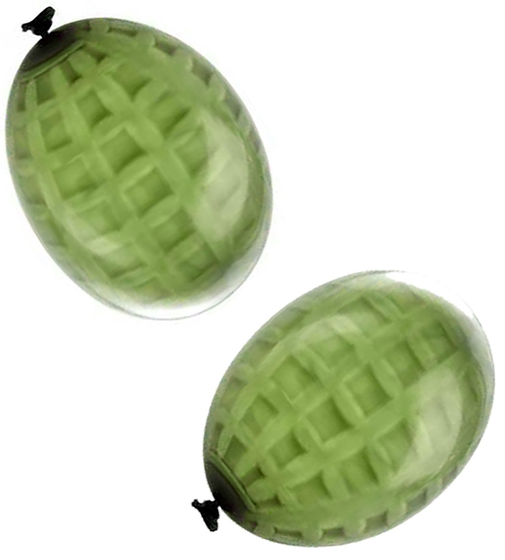 Cool & Fun {36 Count Pack} of 3'' - 6'' Inch ''Medium Size'' Water Balloon Bomb Grenades Made of Latex Rubber w/ Army Hand Grenade Team Combat Cool War Design {Green Colored} w/ Nozzle Attachment by mySimple Products