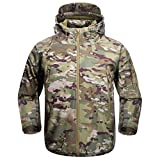 FREE SOLDIER Men's Outdoor Waterproof Soft Shell Hooded Military Tactical Jacket (MultiCam, XL)