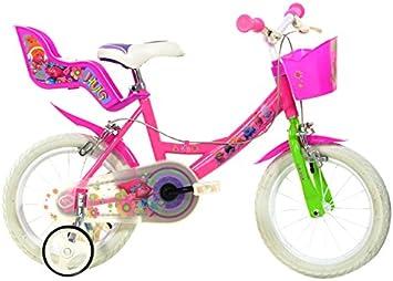 Bicicleta Chica 14 Pulgadas Dino Trolls Ruedas Extraíbles Cesta y ...