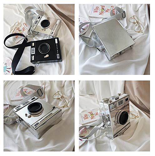 JYH kvinnor PU radiokamera design crossbody väska tygväska regnbåge snapshot handväska säckväv axelväskor, svart SILVER