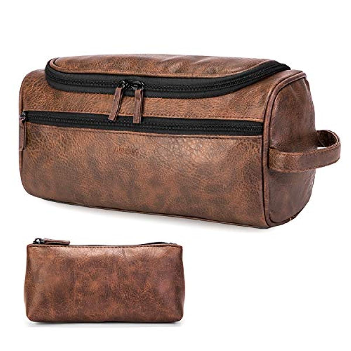 b9f8d100754 Details about Leather Toiletry Bag Travel Organizer Portable For Men Women  Vintage Design