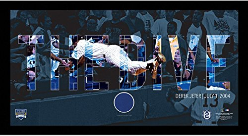 Overlay Framed (Derek Jeter Moments: The Dive Collage Text Overlay w/ Game Used Wall Panel Framed 9.5x19 7331 Style)