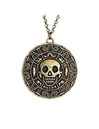 lureme® Inspired By Pirates of the Caribbean Movies Cursed Aztec Coin Medallion Necklace Skull Necklace(01003817)