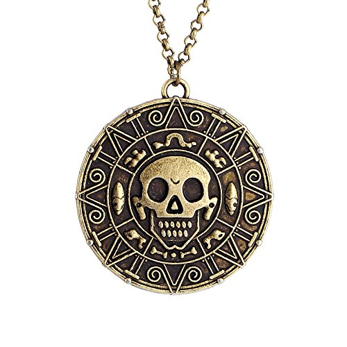 LUREME Inspired by Pirates of The Caribbean Movies Cursed Aztec Coin Medallion Necklace Skull Necklace-Anqitue Brass (01003817-1)]()