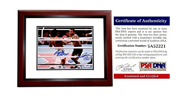 dfc4e035a64 Sugar Ray Leonard and Roberto Duran Autographed Signed Boxing 8x10 Photo  Mahogany Custom Frame - PSA DNA Authentic at Amazon s Sports Collectibles  Store
