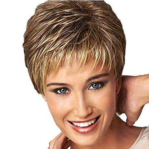 Ydida Wig Short Haircut Curly Color Gradient Wigs Short Synthetic Short Pixie Cut Hair Natural Synthetic Wigs For Women Heat Resistant Wig Natural Hair Women's Fashion Wig