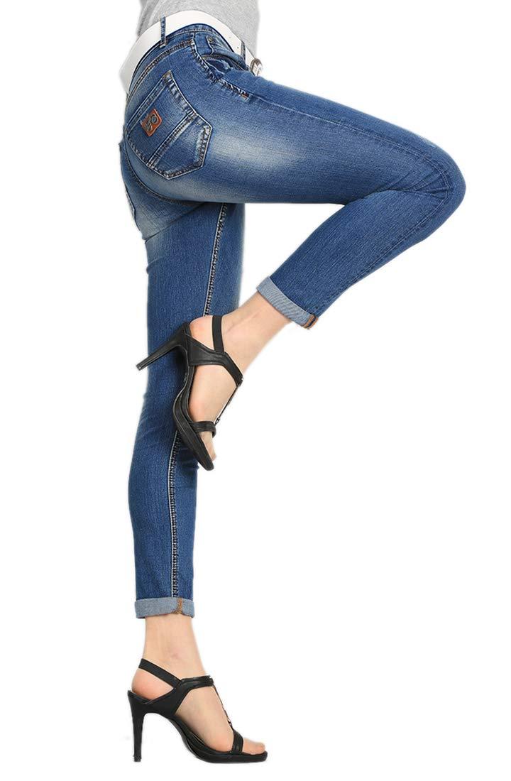 Women's Juniors Distressed Slim Fit Stretchy Skinny Denim Jeans with Belt 3