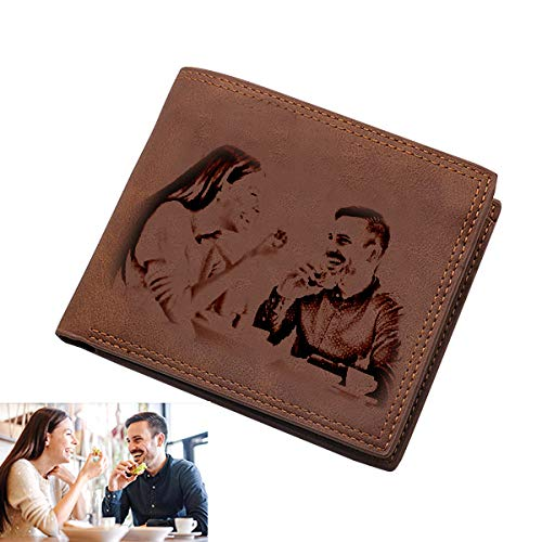 Personalized photo Wallet Custom Mens Wallet Vintage soft leather wallet Fathers day gift