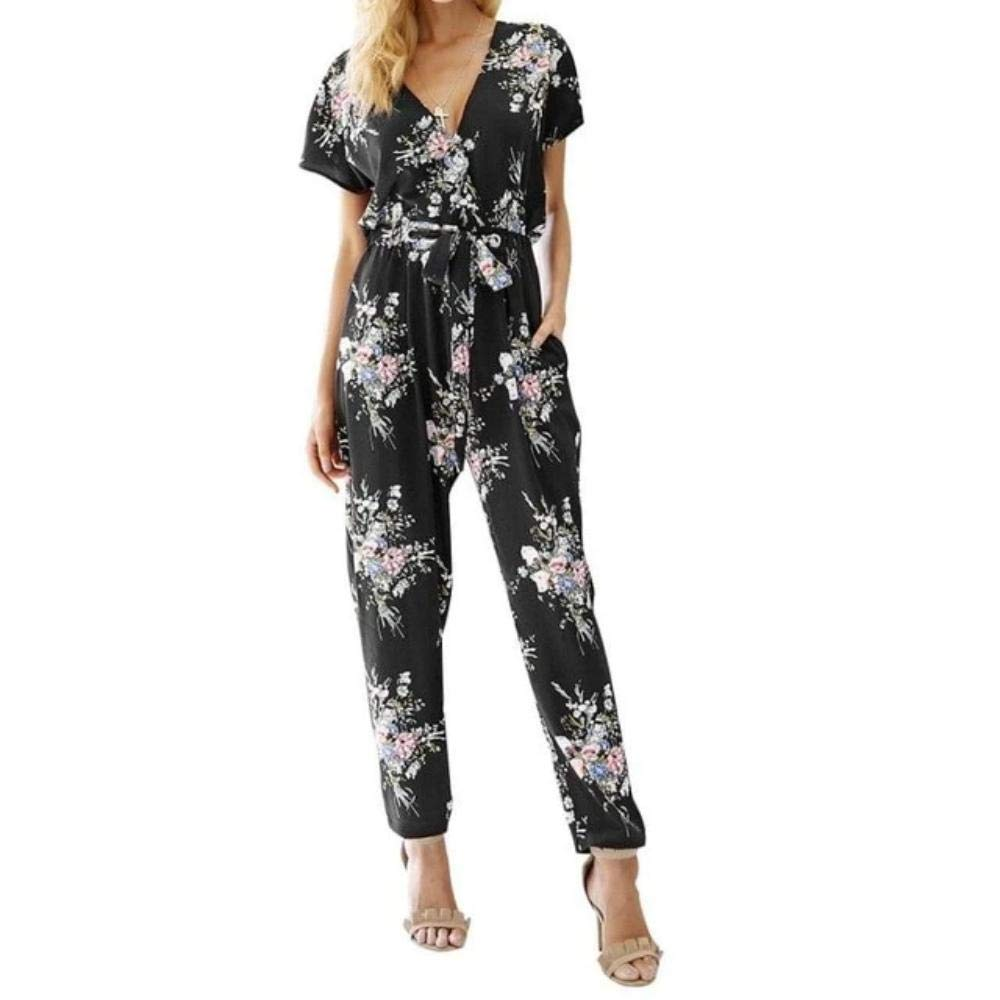 Women Floral Boho Jumpsuit Short Sleeve Casual
