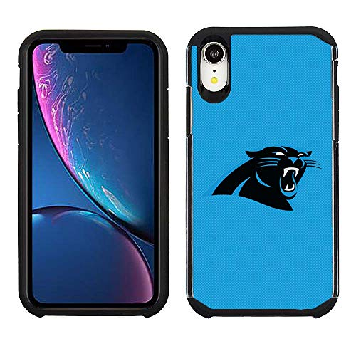 Prime Brands Group Cell Phone Case for Apple iPhone XR - NFL Licensed Carolina Panthers - Light Blue Textured Back Cover on Black TPU Skin