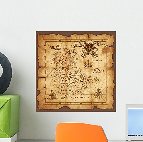Vector Pirate Treasure Map Wall Mural by Wallmonkeys Peel and Stick Decals for Boys (12 in H x 12 in W) WM373415